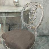 taupe aged chair and table