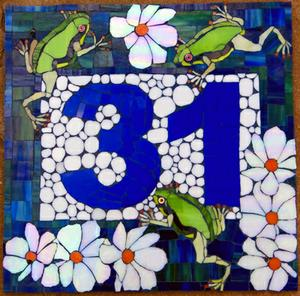 Glass mosaic house number 31 on fibre cement board. SOLD for R1500
