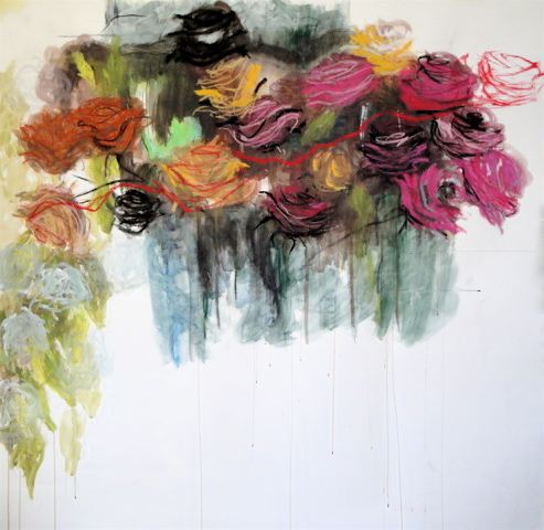 Abundant pink roses