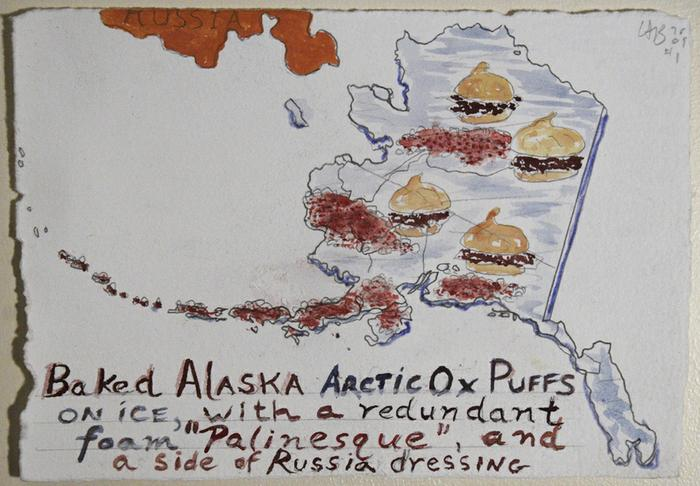 Baked Alaska Arctic Ox Puffs on ice with a redundant foam