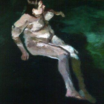 thumbnail for Swimmer as self-portrait, Florisbad II. Oil on wood. 40 x 50cm