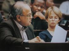 Melanie with fellow South african Member of Parliament Pravin Gordhan (mid 1990's)