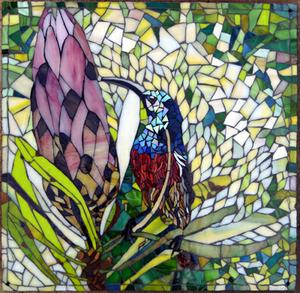 Glass mosaic mural of Sunbird and Protea on Superboard  SOLD for R3000