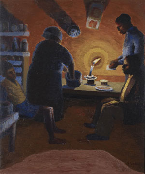 Gerard Sekoto - Family with candle