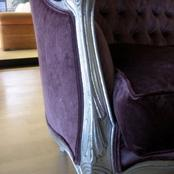 private client ; detail silverleafed couch