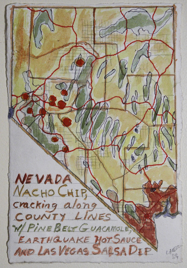 Nevada Nacho Chip cracking along county lines w/ Pine Belt Guacamole, Earthquake Hot Sauce