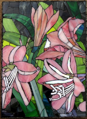 Glass Mosaic Amaryllis Lily Wall Mural on superboard. SOLD for R2000