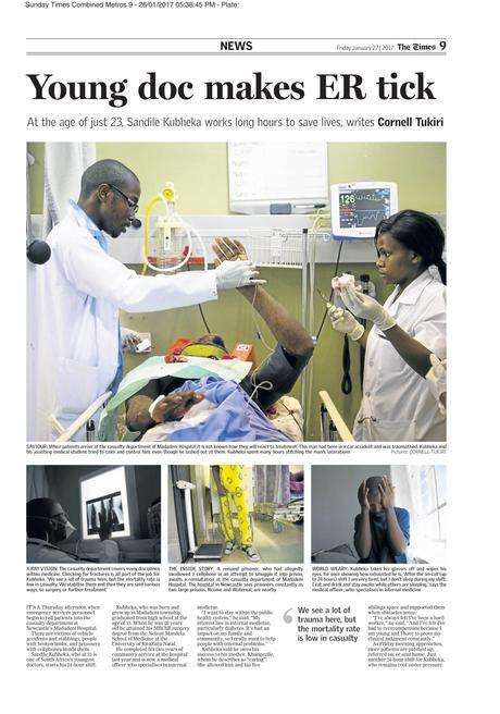 The Times (SA) - Young doc makes ER tick