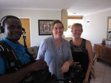 Director Miki Redeinghuys (middle) with soundman Jabu Msomi and Lynne's best pal Jeanette Childs