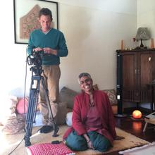 Cameraman Tim Wege and Nirmala during the I Am Woman shoot