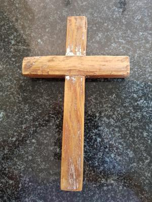 Wooden Cross, 15 x 16 x 3cm, 2cm deep R110