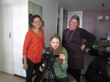 Lindiwe with camerawoman Mariani Faber and director Jane Kennedy