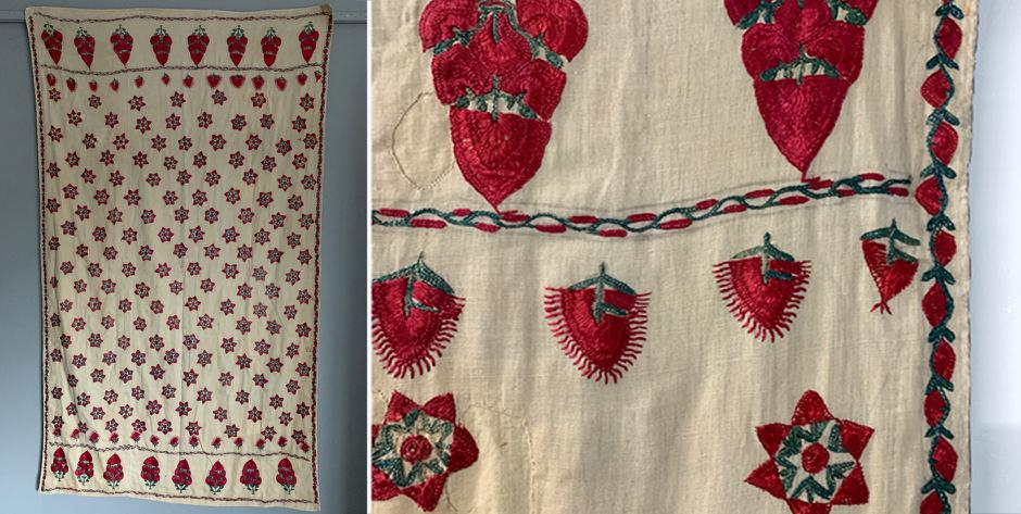 Indo/Pak Sindh silk embroidered shawl • circa 1900