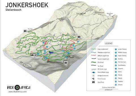 Jonkershoek mountain bike map