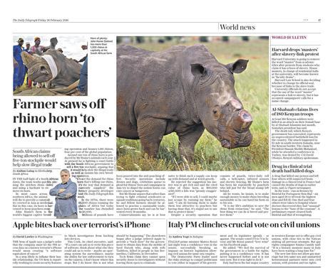 The Telegraph (UK) - Farmer saws of Rhino horn 'to thwart poachers' - Rhino Farm, South Africa