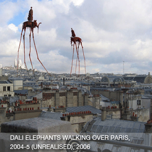 Dali Elephants Walking Over Paris (Helium lifting cell encased in structural fabric envelope)