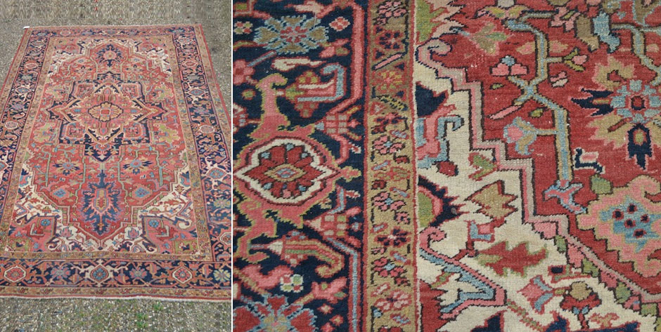 antique Persian Heriz carpet  • early 20th Cent