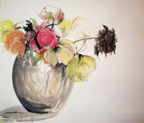 Large flowers in glass vase