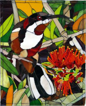 Glass mosaic mural of Australian Eastern Spinebill. R3500.00