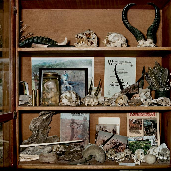 Flip Looch's collection cabinet. Quaggasfontein farm, Graaff-Reinet, Eastern Cape, 17 June 2009