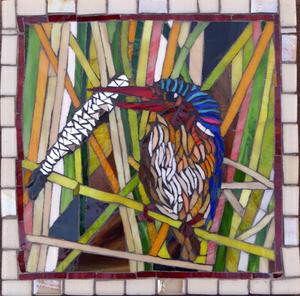 Small glass mosaic mural of kingfisher with fish in his beak. SOLD for R700 x 2