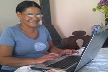 Sandra working at home ( with Lisa's borrowed glasses)