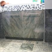 vanity doors faux marbled to match tiles