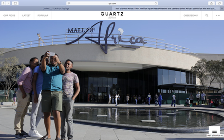 Quartz (US) - Mall of Africa: 1.4 mill. sq feet cementing South Africa's obsession with mall culture