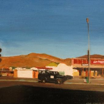 thumbnail for Springbok street with black landrover. Oil on panel 20 x 25cm