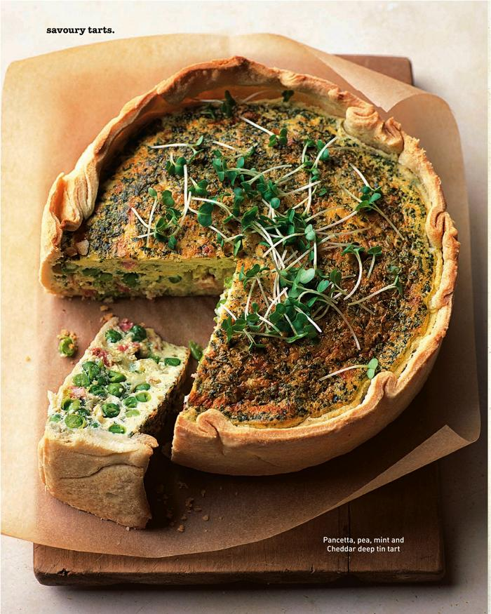 Pancetta, pea mint and cheddar deep tin tart