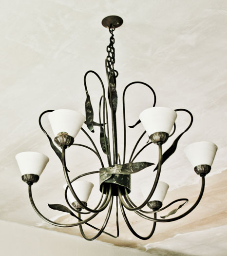 Leaf chandelier with six porcelain shades and cieling rose, hooks and chain