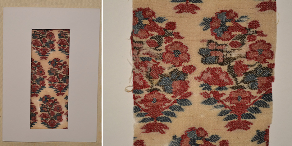 Indian Kashmir small fragment of a twill Jamawar shawl in Moghul style  • circa 1800