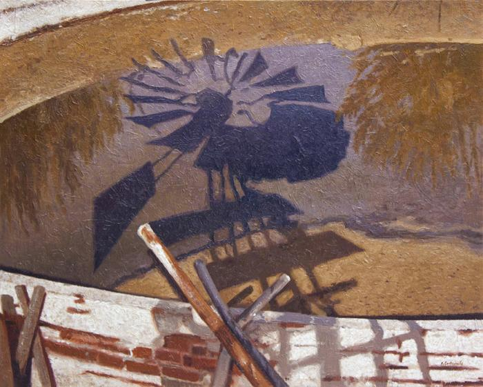 Windmill shadow into reservoir - SOLD