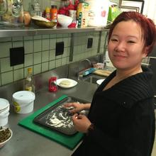 Yang in her restaurant kitchen