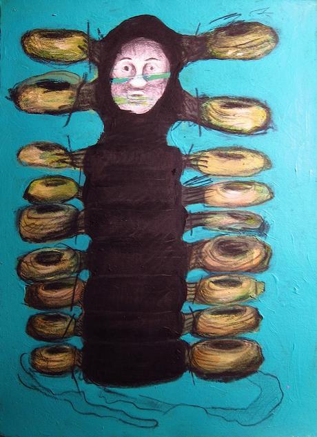 thumbnail for Tire-d-Metamorphosis, acrylic paint & lead on 10 x 13