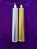 silver,gold spray on white candles