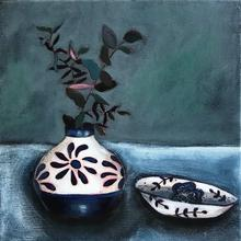 Blue pot with branch