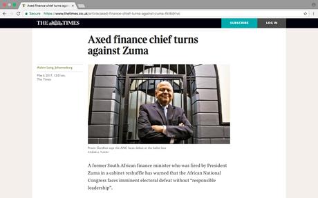 The Times (UK) - Pravin Gordhan Portrait