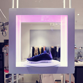 Interactive display - revolve the shoe in the shop window when the shop is closed