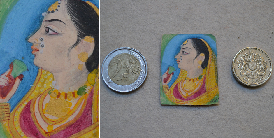 Miniature Indian school painting ( fragment ) of an Indian lady