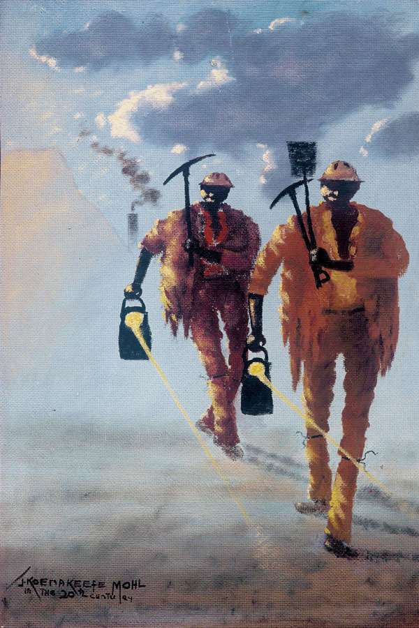 Miners carrying their working tools, near Springs, South Africa
