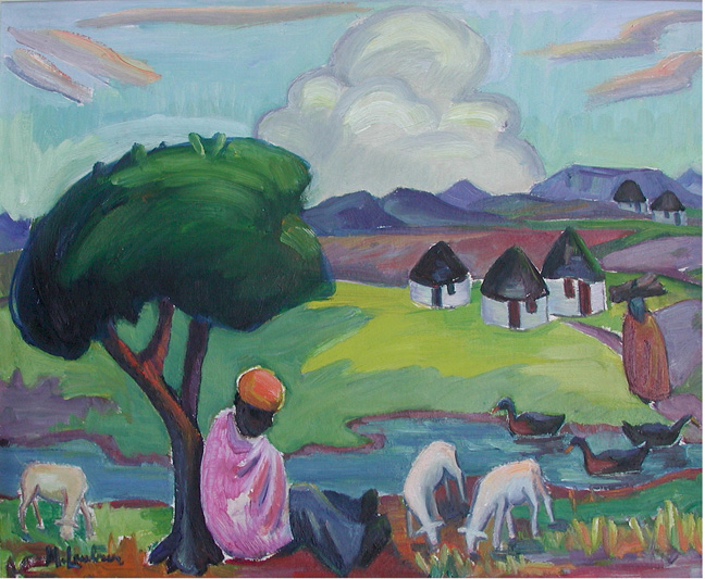 Landscape with shepherd, tree and huts - SOLD