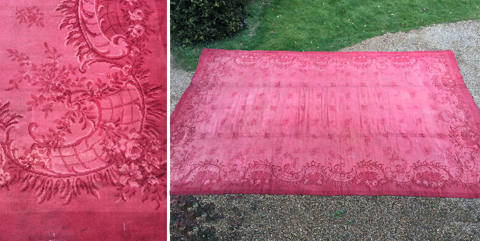 Austrian oversize raspberry colour carpet in a 19th cent baroque manner • 19th cent