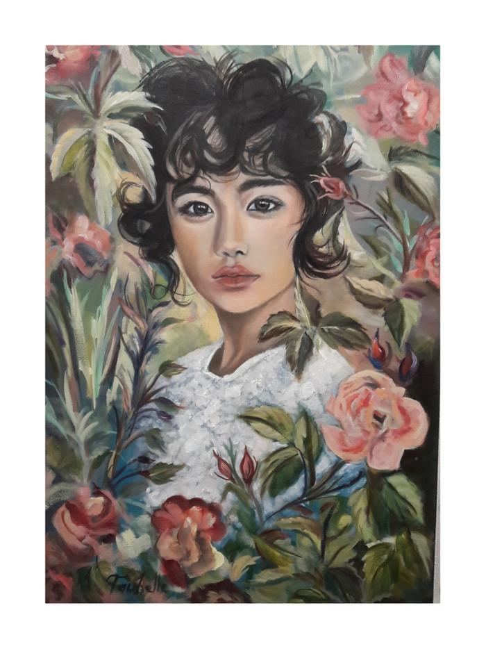 Taubelle Gersh    Ichiko in the Garden     Oil    58 x 42 cm     R 2.800