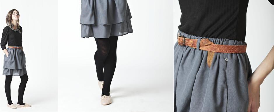 Layered Grey Skirt with Black Stretch Top; Lo, Autumn/Winter 2011