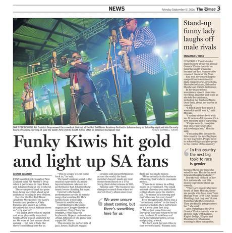 The Times (SA) - Funky Kiwis hit gold and light up SA fans