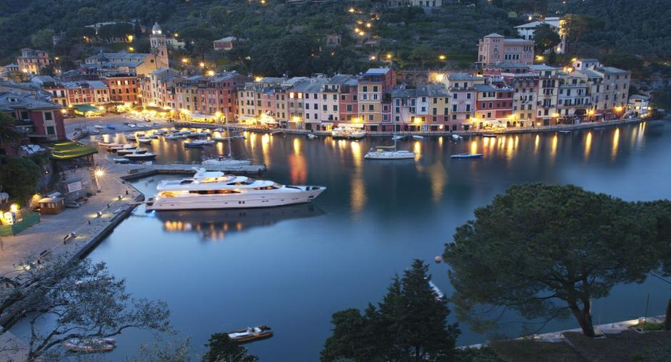 Yacht night time harbour at portofino