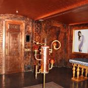 Enigma mansion: antiqued copper leafed walls and ceilings