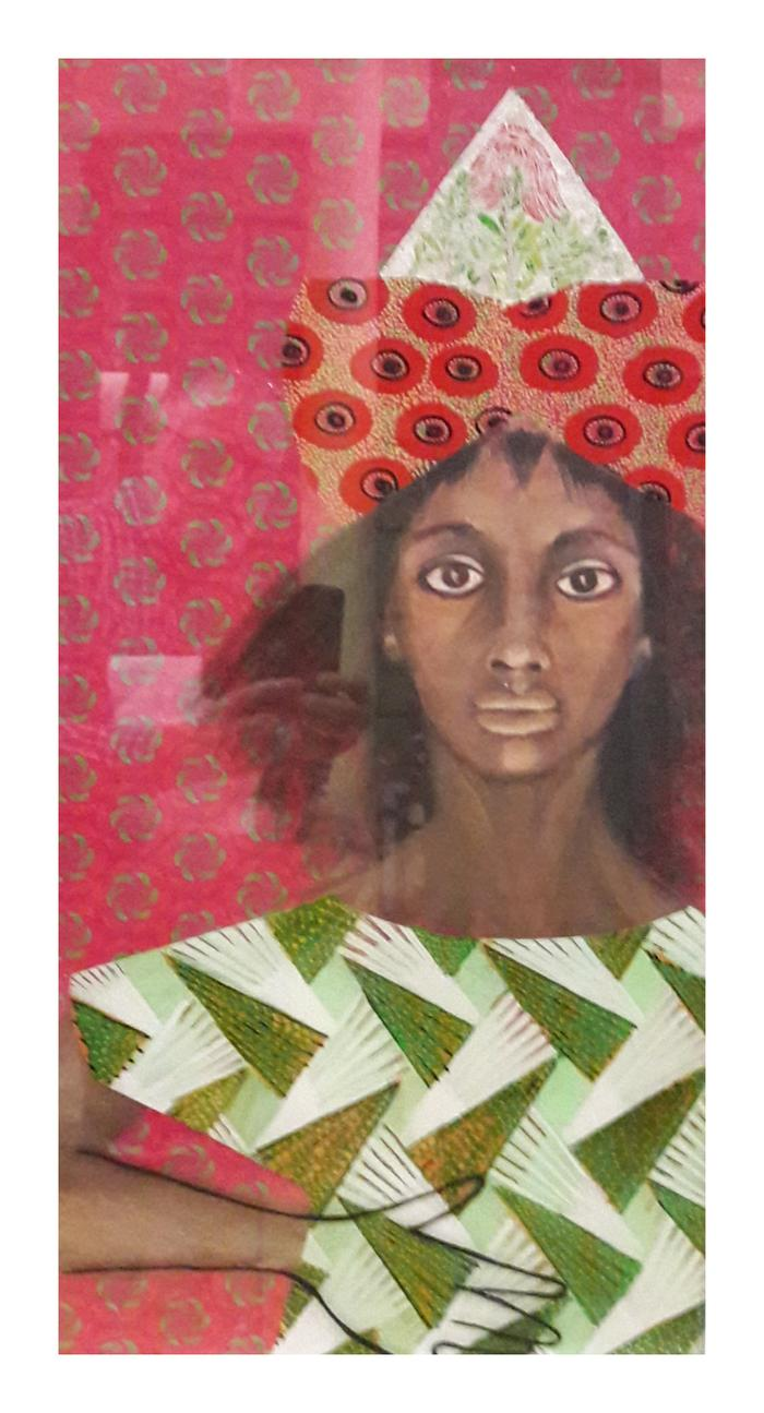 Yvette Polovin       ShweShwe Queen 4  acrylic on fabric and on perspex       770x410        R4000