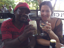 Sound Recordist President Kapa and Lisa after a hard days work on the Mmatshilo episode
